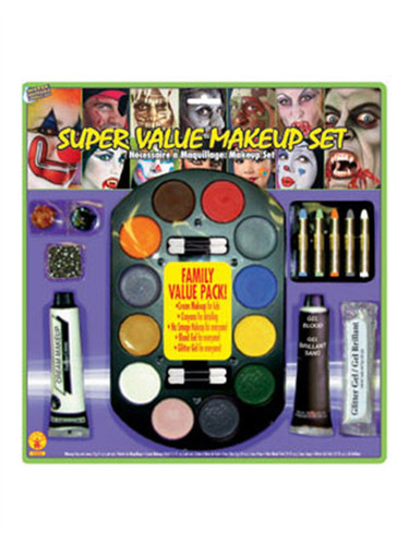 22 Piece Water Washable Halloween Costume Super Value Family  Makeup Set