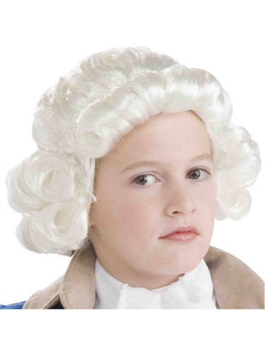 Child's White Colonial Boy Settler Governor Judge Wig