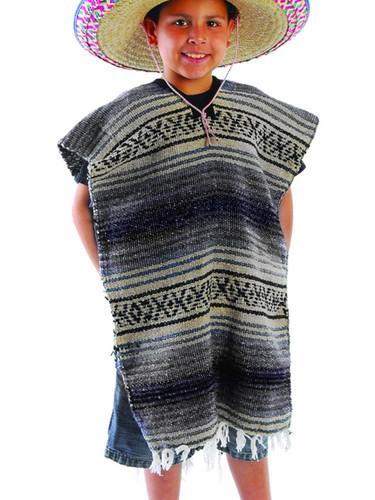 Childs Cinco de Mayo Fiesta Blue Striped Mexican Poncho Costume Accessory