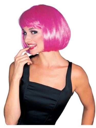 Adult Hot Pink Short Strait Bob Super Model Costume Wig