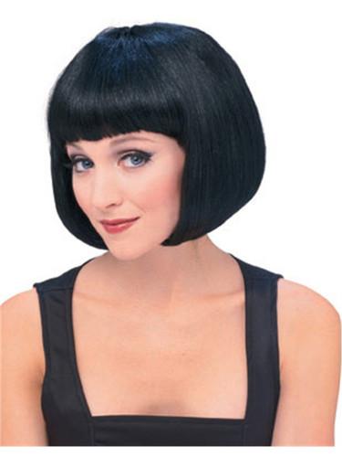 Adult Black Short Strait Bob Super Model Costume Wig