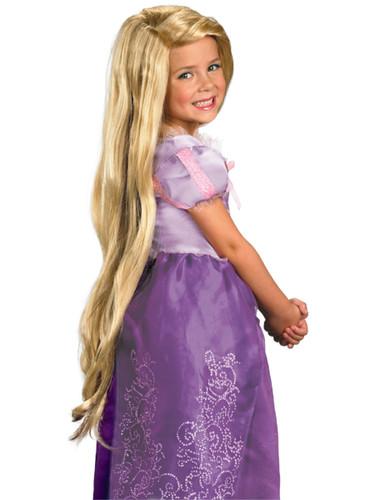 Child Girls Tangled Rapunzel Costume Long Blonde Wig