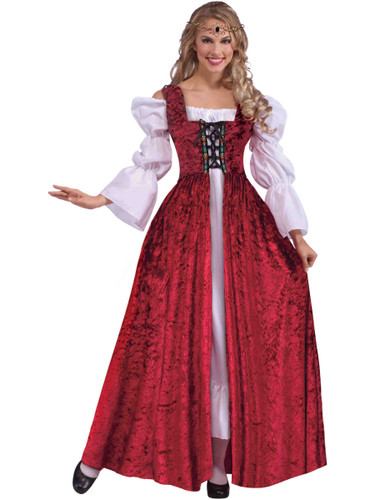 Womens Elegant Medieval Maiden Red Lace Up Gown Costume