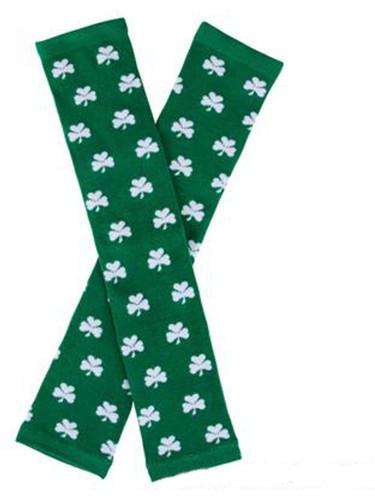 Saint Patrick's Day Green And White Shamrock Leg Warmers Costume Accessory