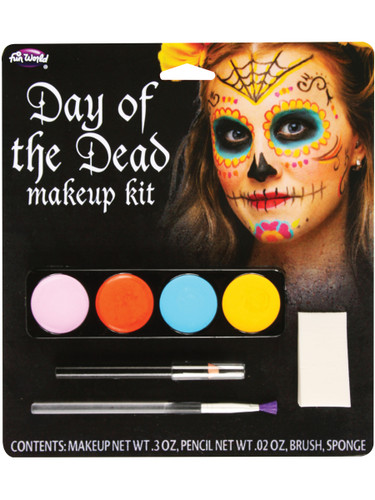 Day Of The Dead Sugar Spider Female Makeup Kit Set Costume Accessory