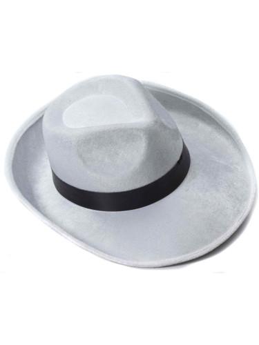 White And Black Velvet Gangster Costume Fedora Hat