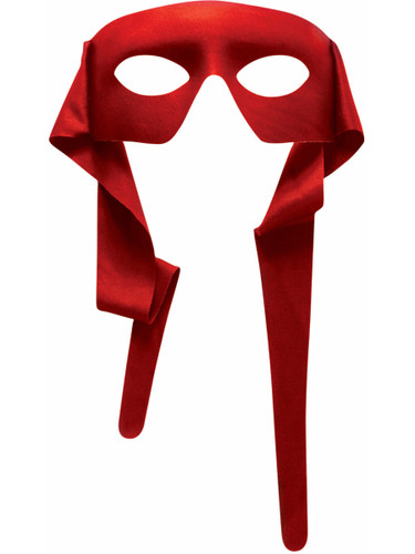 Mens Red Masked Man With Ties Venetian Mardi Gras Mask Costume Accessory