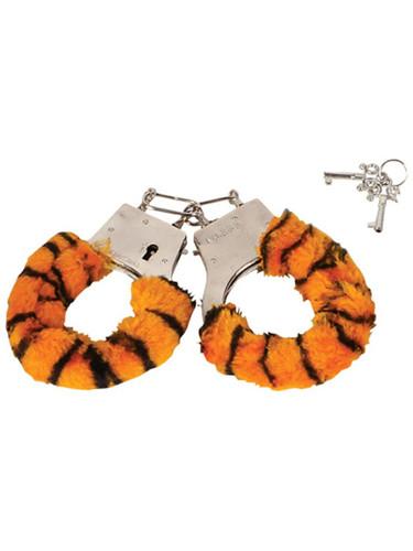 Sexy Soft Steel Fuzzy Tiger Furry Handcuffs Hand Cuffs