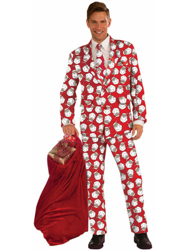 Adults Men's Christmas Holiday Novelty Santa Formal Suit Costume
