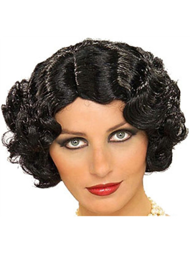 Deluxe Adult Black Roaring 20s Flapper Girl Costume Wig