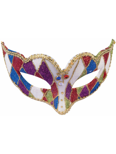 Adults Multicolored With Gold Trim Venetian Masquerade Half Mask Accessory