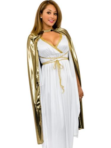 Womens Shiny Gold Lame Sexy Magician Costume Cape Cloak