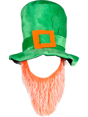 Large Green Plush Leprechaun Top Hat With Orange/White Beard Costume Accessory