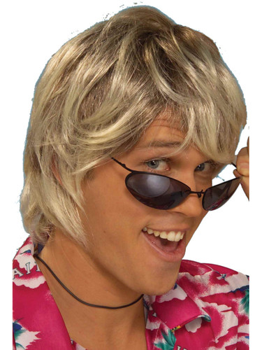 Adult Blonde And Brown 70s 80s Surfer Beach Bum Dude Sun Bleached Wig Accessory