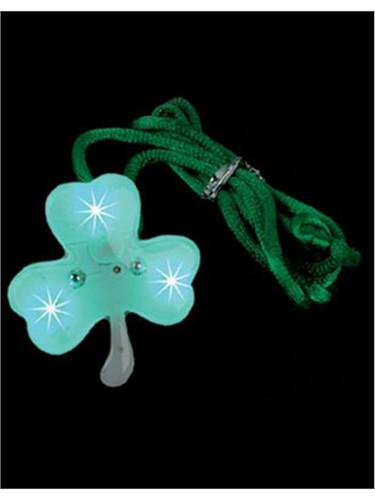 St Patricks Day Blinking LED Irish Shamrock Necklace