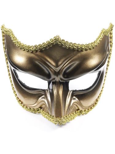 Adult Gold Black Scowling Demon Devil Costume Half Mask