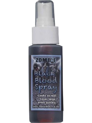 Deluxe Black Zombie Halloween Costume Liquid Blood Spray