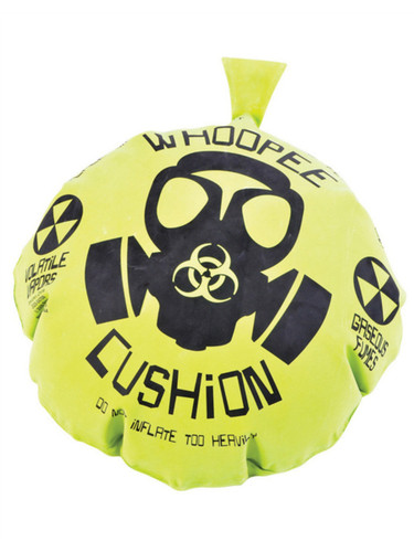 "17"" Giant Gas Mask Biohazard Green Yellow Rubber Whoopie Woopee Cushion Joke Toy"