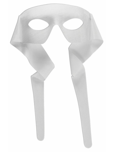 Mens White Masked Man With Ties Venetian Mardi Gras Mask Costume Accessory