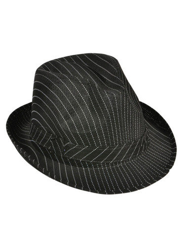 Roaring 20s Gangster Costume Black Pin Stripe Fedora Hat
