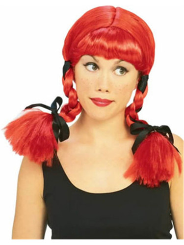 Womens Cowboy Country Girl Red Pigtail Wig With Black Ribbons