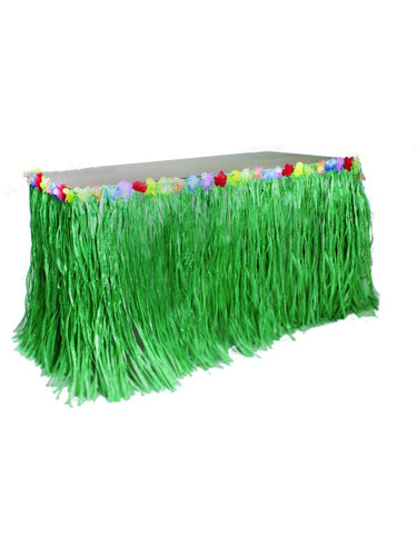 Green Table Skirt Decoration Hawaiian Luau Flowers