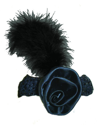 Women's Black Sequin Flapper Headband with Feather Costume Accessory