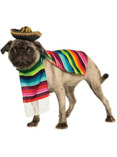 Cinco de Mayo Fiesta Striped Mexican Serape Poncho Dog Pet Costumes