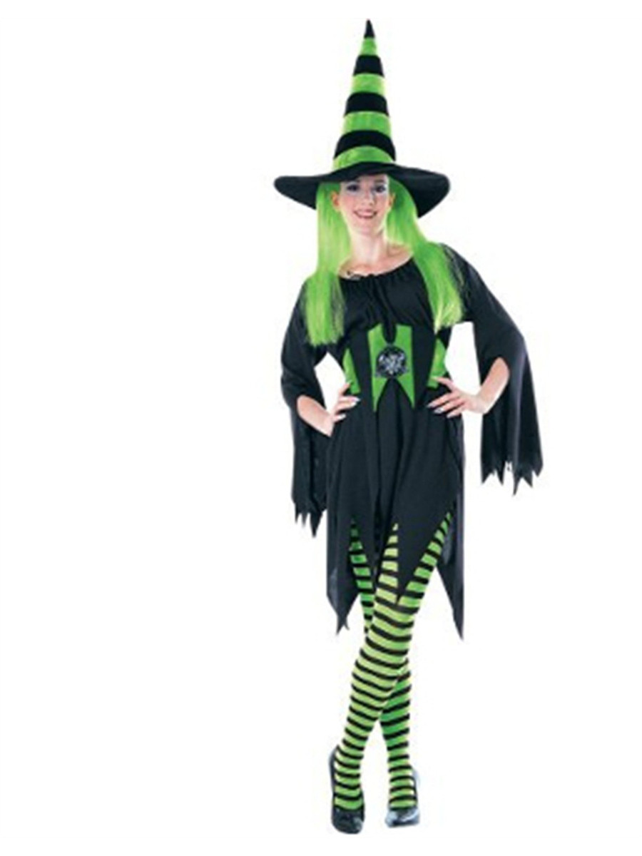 fa0a680f42283 Womens Sexy Black and Green Striped Wicked Witch Costume Tights