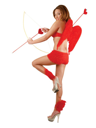 Womens 2-8 Sexy Red Costume Accessory Tanga Ruffle Hot Pants Boy Shorts