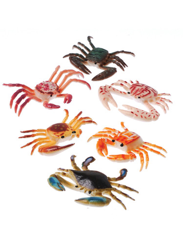 Plastic Toy Crabs Sea Creature Crustacean Colorful 12 Pack