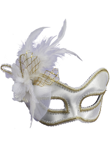 Deluxe White and Gold Satin Mardi Gras Carnival Mask With Feather Plume