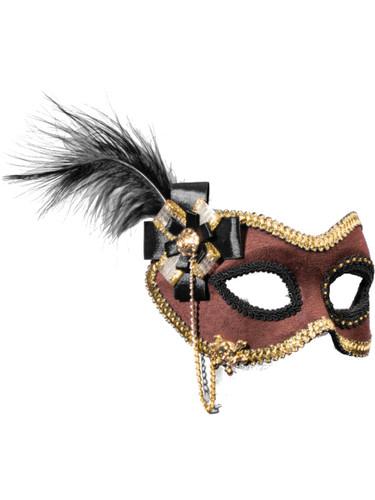 Womens Brown Suede Venetian Half Mask Costume Accessory
