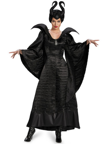 Womens Deluxe Maleficent Black Christening Evil Witch Gown Costume