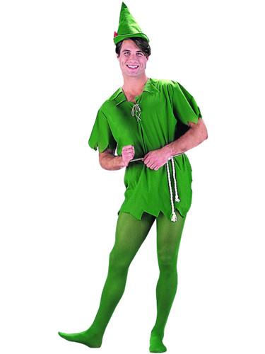 Adults Mens Womens Peter Pan Green Costume And Hat Set