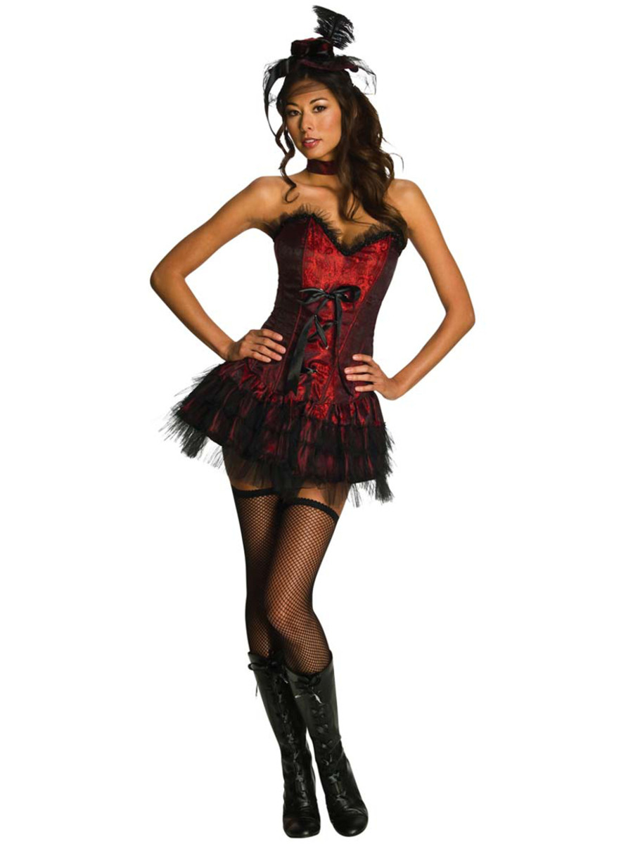 Womens Sexy Adult Oo La La Red Burlesque Saloon Girl Costume-6946