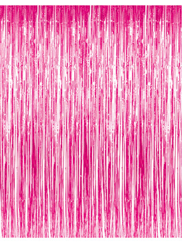 3' x 8' Pink Tinsel Foil Fringe Door Window Curtain Party Decoration