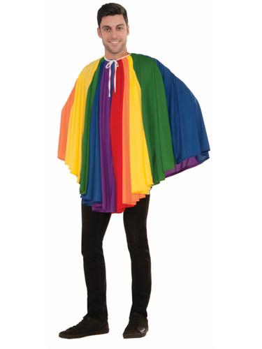 Adult's Funky Pride Colorful 70s Retro Rainbow Fantasy Cape Costume Accessory