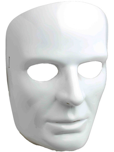 New Halloween Costume Men's Male Blank White Face Mask Facemask
