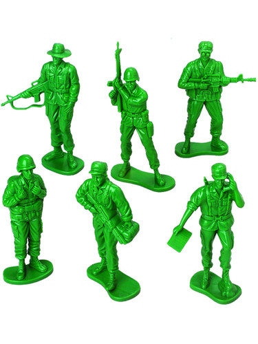 Military Green Plastic Toy Soldiers 4 Inch Tall People 12 Pack Toys