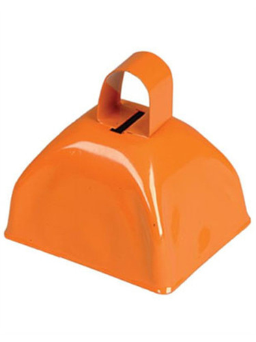 "Cool New 3"" Orange Metallic Costume Accessory Cow Bell"