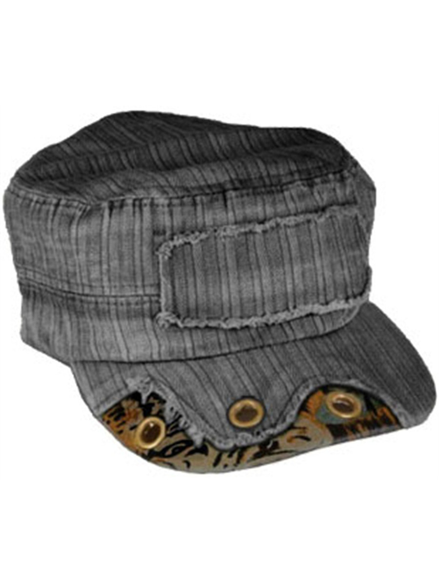 64a9ffbd7bf Grey Charcoal Cadet Cap with Brass Rivets And Camo Trim