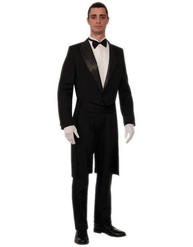Mens Black White Formal Butler Gentleman Tuxedo Black Tie Tailcoat Costume