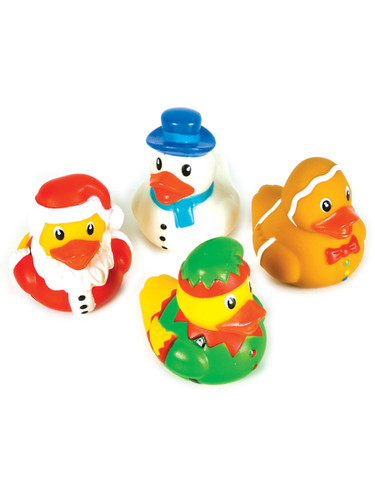 Set Of 12 Christmas Santa Snowman Rubber Duckies Bath Ducks Toys