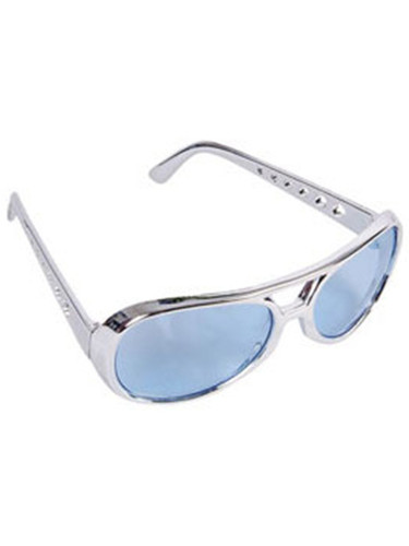 Blue Lens Silver Frame Elvis Aviator Rock Star Glasses