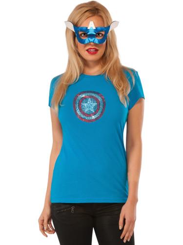 Womens Adult American Dream Rhine Stone T-Shirt And Mask Set Costume