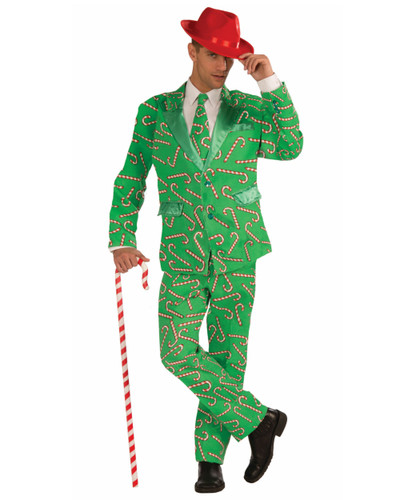 Adult's Mens Christmas Holiday Novelty Candy Cane Suit Costume