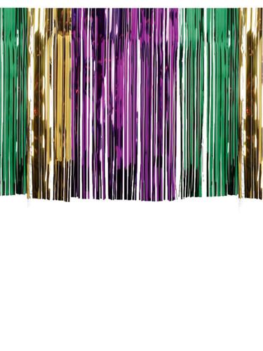 "30"" Metallic Tinsel Shiny Gold Purple Green Fringe Table Skirt Party Decoration"