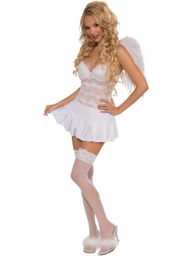 Womens Sexy Cheerleader or Angel Costume White Pleated Mini Skirt