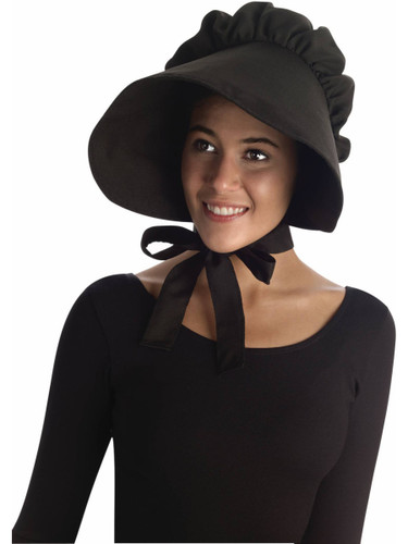Amish Mennonite Puritan Black Felt Bonnet Costume Hat